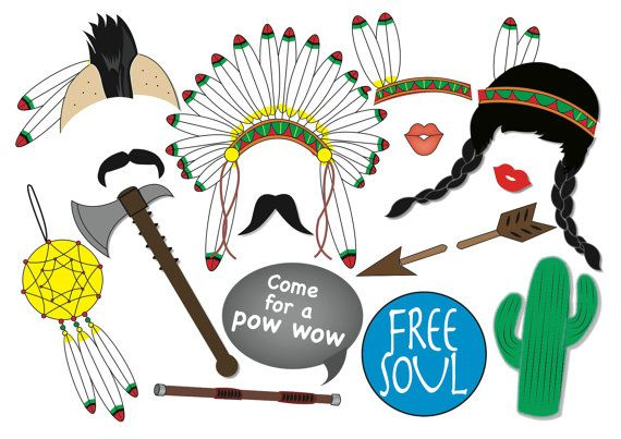 American Indian Photo Booth Party Props Set - 15 Piece PRINTABLE - Mohawk, Western party, cowboys and Indians, Thanks giving Party, patriots