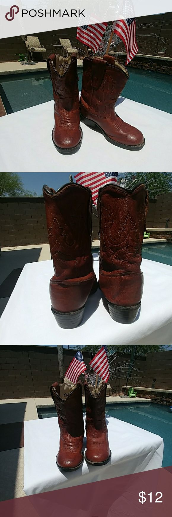 Toddler Cowboy Boots Old West Leather, sticking details  cowboy boot. Natural wear on inside lining,  outside is in excellent condition Old West Shoes Boots
