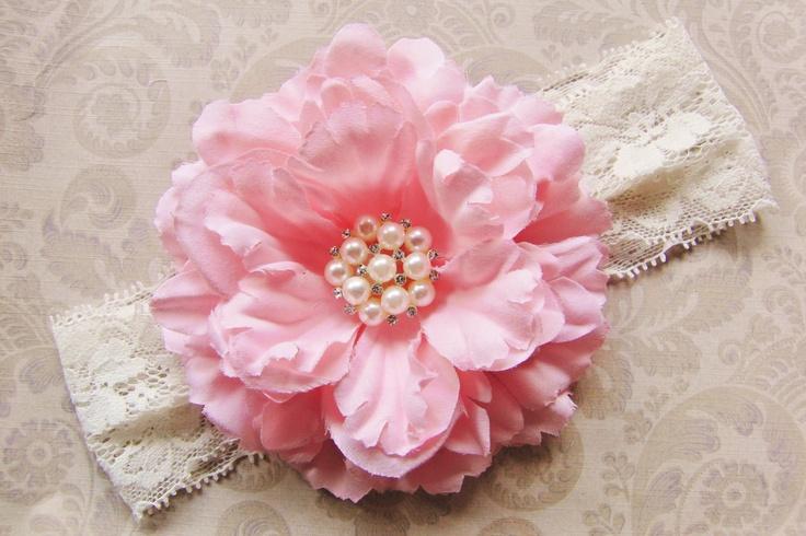 Pink Baby Headband - Lace Headband for Baby Girls - Flower Headband - Pink Headbow. $11.95, via Etsy.