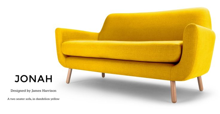 Jonah 2 Seater Sofa in dandelion yellow | made.com | £499 | W160 x D81 x H80cm