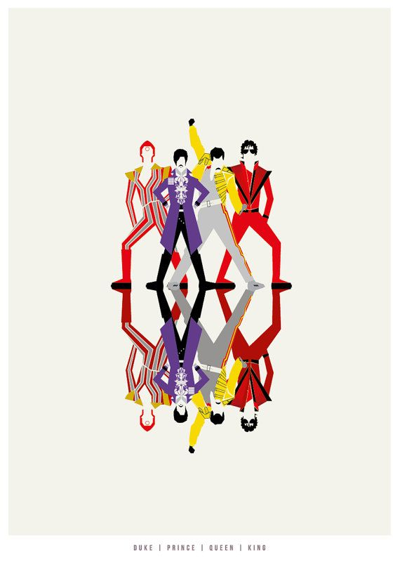 David Bowie, Prince, Freddie Mercury and Michael Jackson Illustration poster…