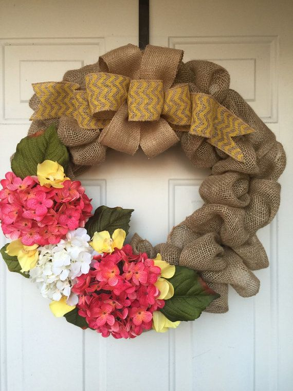 Beautiful spring or year round Burlap wreath