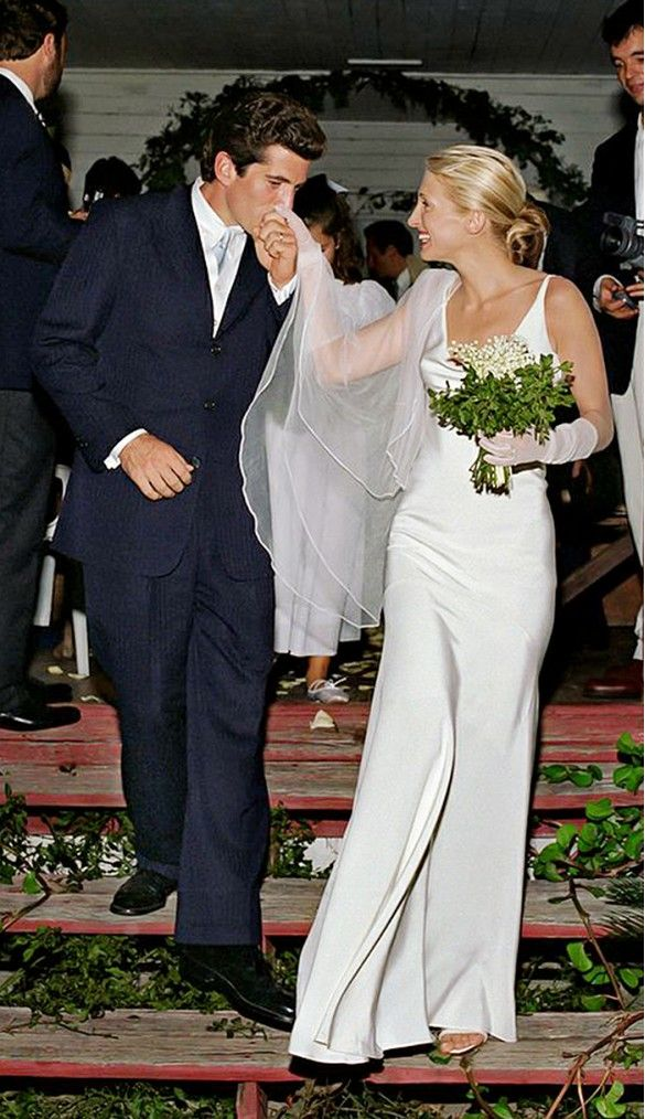 Carolyn Bessette-Kennedy's silk wedding dress by Narciso Rodriguez is simple and gorgeous. // #Weddings