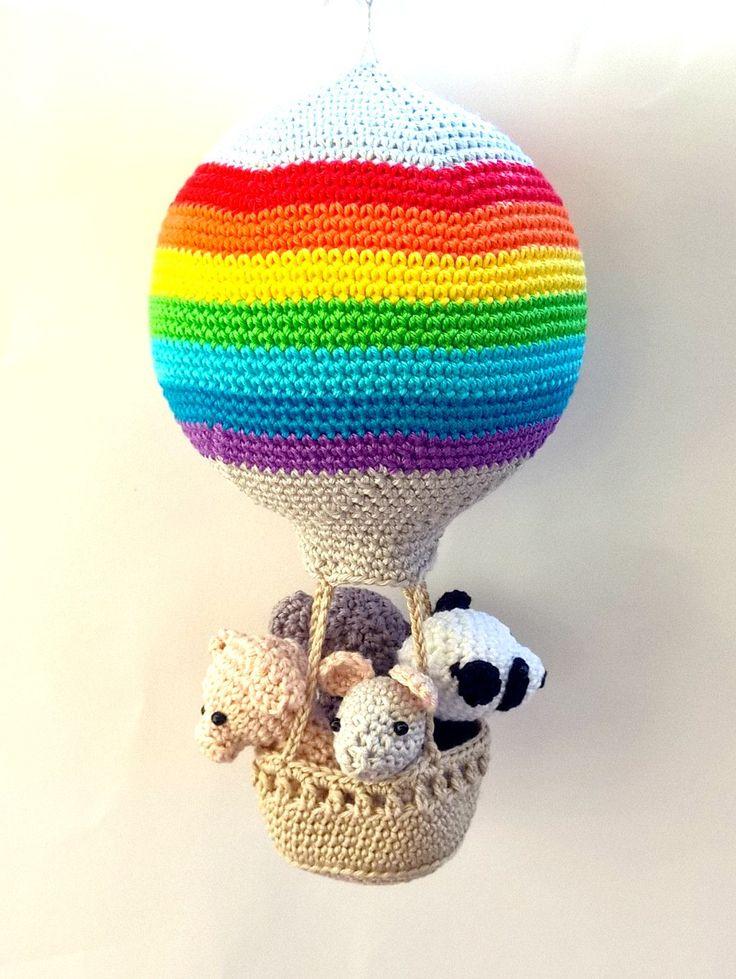 Rainbow nursery hot air balloon decoration, crochet animals in a hot air balloon