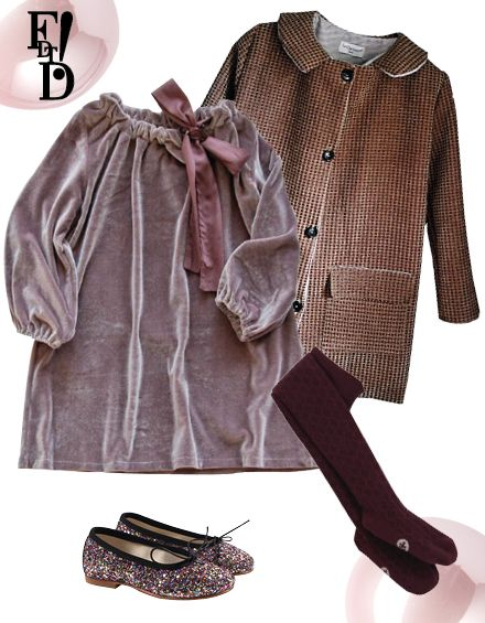 velvet, coats, tights, dress, glitter ballet flats