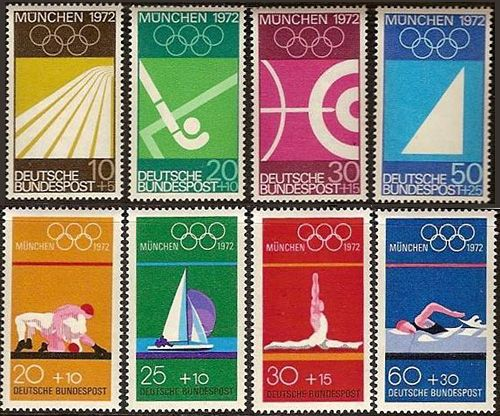 Munich 1972 Olympics. Notice the very simple illustrations. Reducing the lanes of the track (or pool!) to a few shapes. Try some of your own simple collages with different coloured paper. You could choose some of the things you would find near a pool like the clock, the lanes, the dividers.