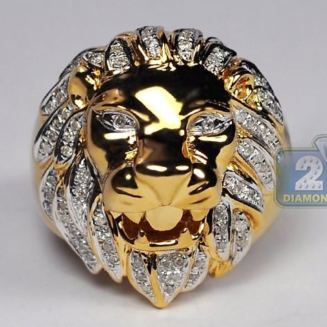 8112b02352f524 Mens Diamond Lion Head Design Ring in Solid 14K Yellow Gold 0.42 Carat,  Animal Inspired Jewelry