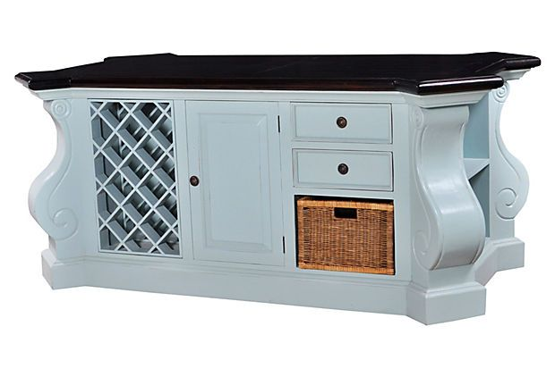 Light Blue Freestanding Kitchen Island Knoll Kitchen Island, Light