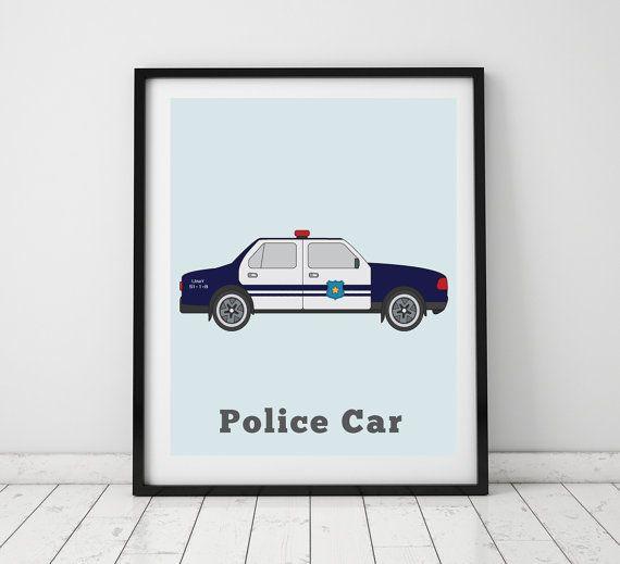 BOYS ROOM DECOR  Police Car Print Big Kids by LittleGrippersStore