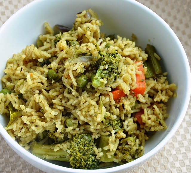 Pudhina Dhaniya Pulao (A Mixed Vegetable Pilaf flavored with fresh ...