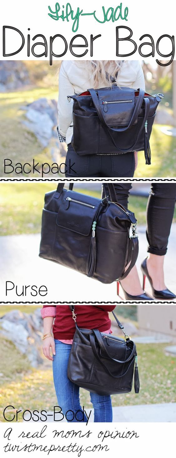 Madeline in Black - Lily Jade designer diaper bag • Crafted from soft, premium leather