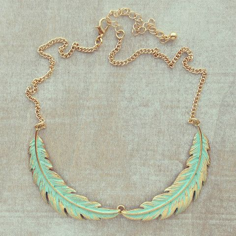 Aqua Laurel Leaves Necklace
