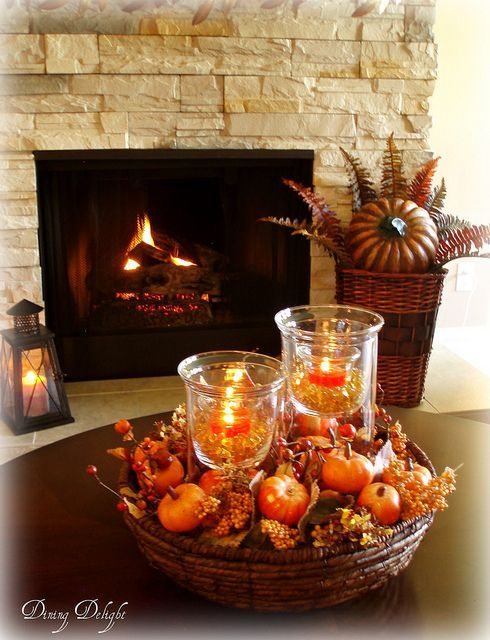 Living Room In Fall Colours Coffee Table Centerpieces