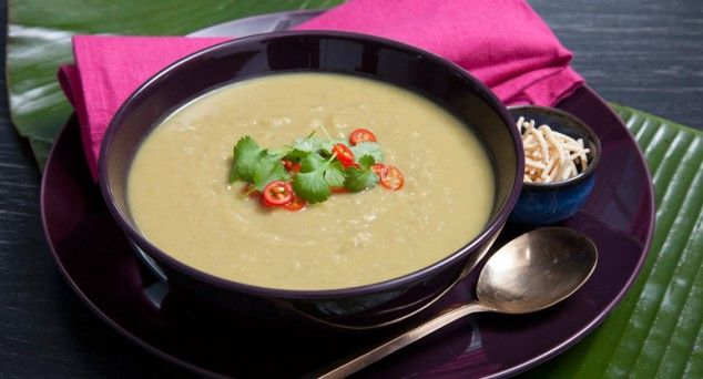 It's a tangy Thai twist! Spoon up this tasty Green Pea & Apple Soup from Fuss Free Cooking.  #spicy #winter #recipe