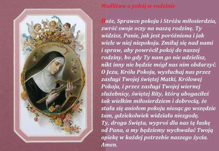 Sw.Rita patronka od spraw trudnych i beznadziejnych.Modlitwa o pokuj i jednosc w rodzinie