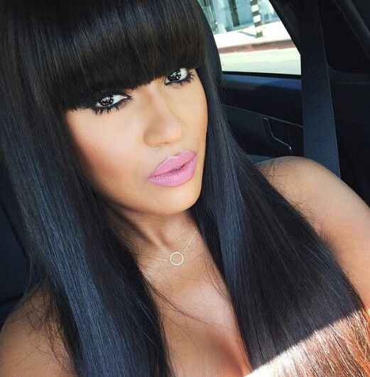 Love LOVE Chinese bangs style... | Virgin brazilian straight hair, Hair styles, Straight human hair
