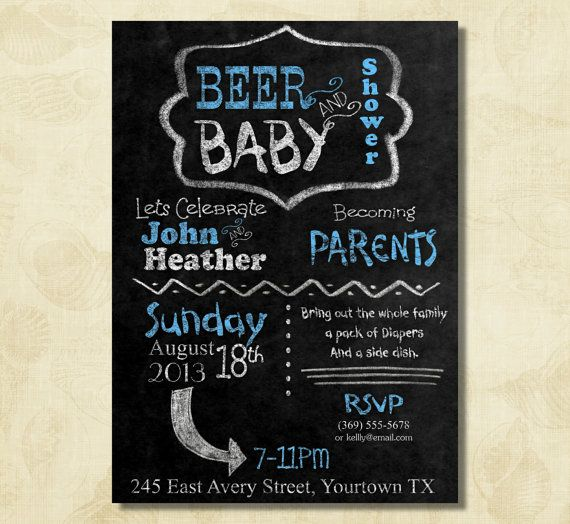 BLUE BBQ and diaper party couple dad baby by FUNDigitalDesigns, $12.50