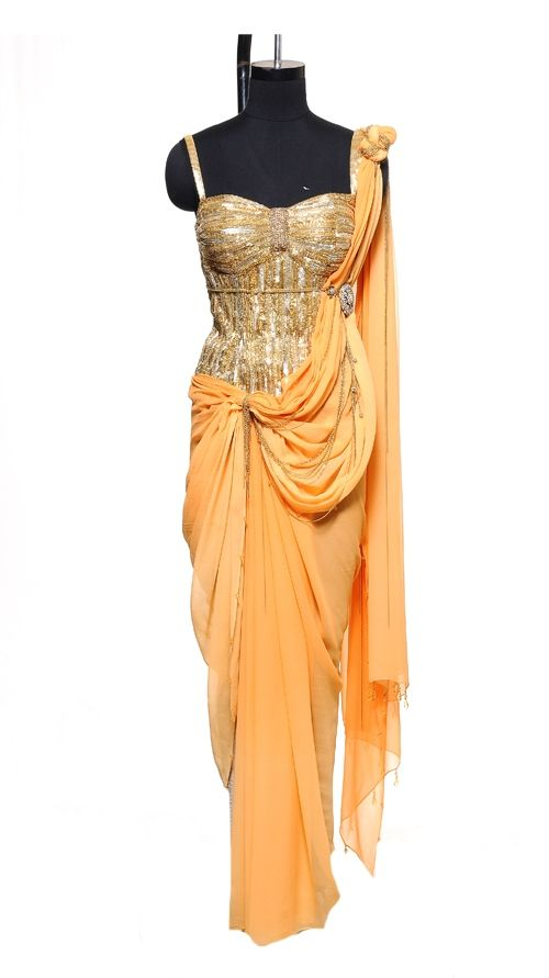 Orange Corset Saree | Strandofsilk.com - Indian Designers - Indian Sarees - Indian Style - Saree with Blouse and Crystal Border  - Elegance @Florencia Lebensohn-Chialvo Cotignola Leigh-collection @Helen Palmer Palmer Redstone @Karri Best-selling-salwar-kameez @Michelle Flynn Flynn Shore-to-ship @Karri Best-selling-sarees