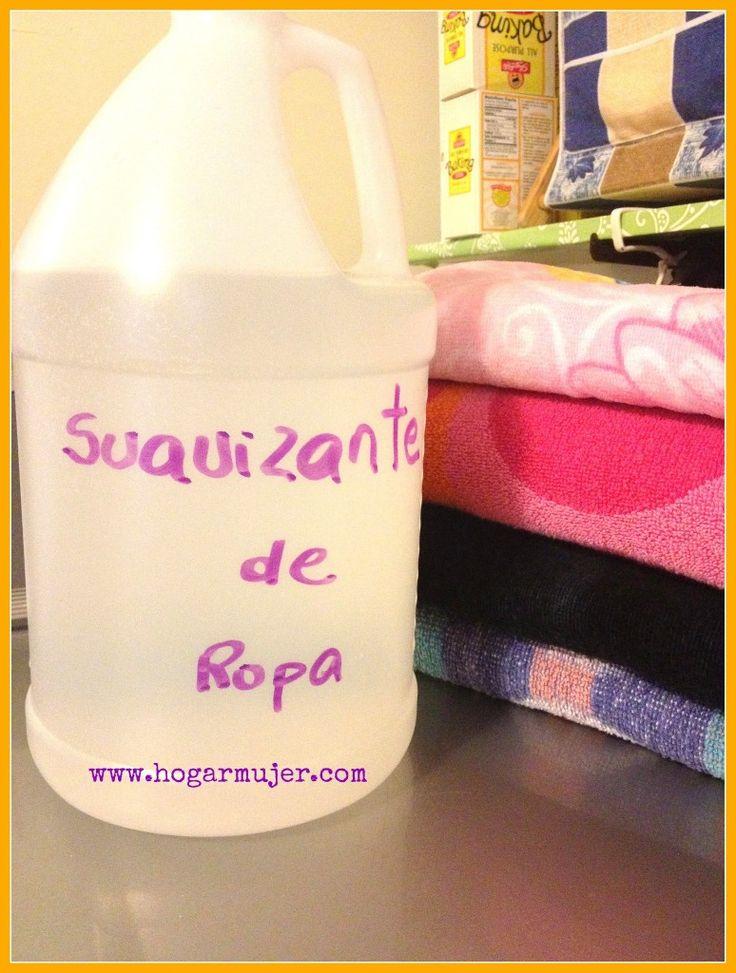 suavizante casero1 taza de bicarbonato con 1 taza de agua en un balde, luego agregar 6 tazas de vinagre y dejar actuar unos 5 minutos. A continuación se agregan 6 tazas de agua tibia y se mezcla bien. Se le puede colocar 15 o 20 gotas de algún aceite esencial de tu preferencia para aromatizar