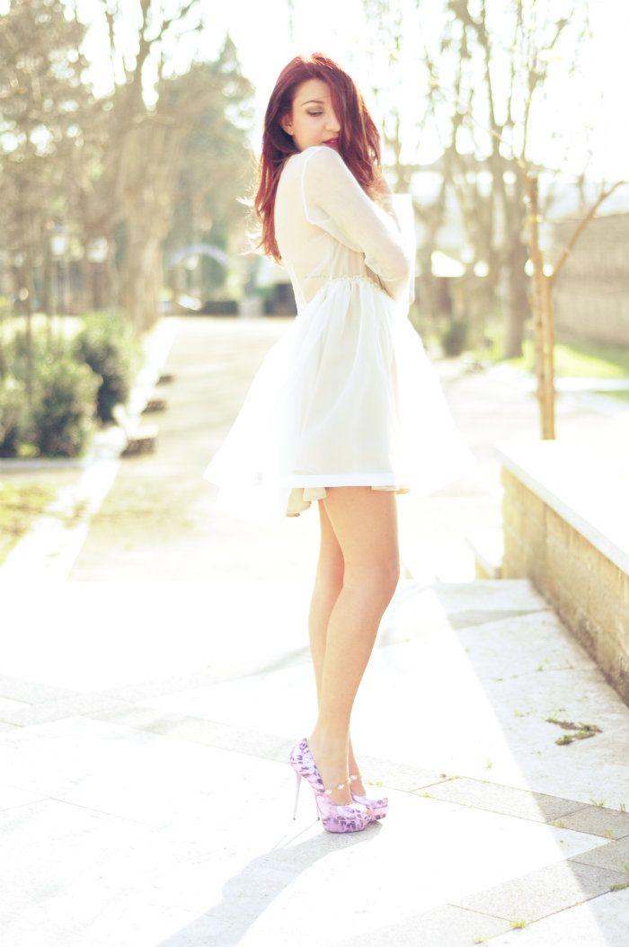 sabrina musco summer outfit elegant dress transparent heels