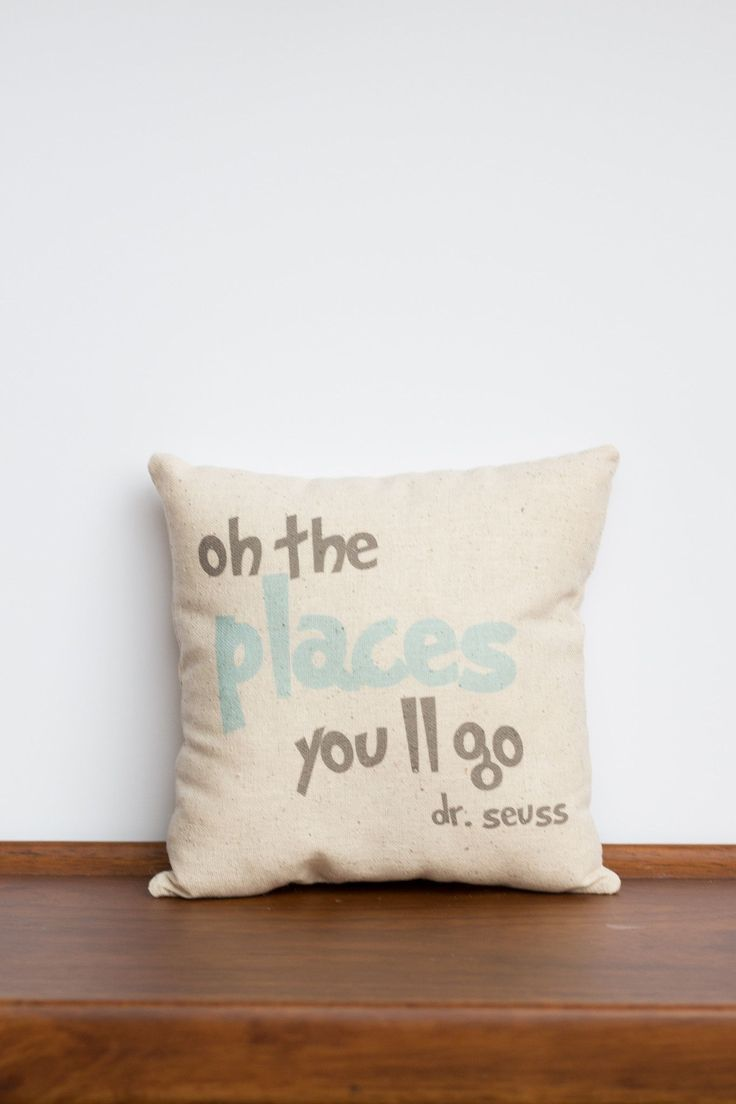 Oh the Places You'll Go II Decorative Pillow | Dr Seuss Baby Shower Nursery Gift Idea | World Traveler Pillow | Customized Graduation Gift