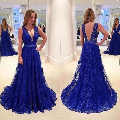 Royal blue lace prom dresses, Backless Long prom dress, discount prom dress, long prom dresses, prom dress online, sexy prom dress, 16125