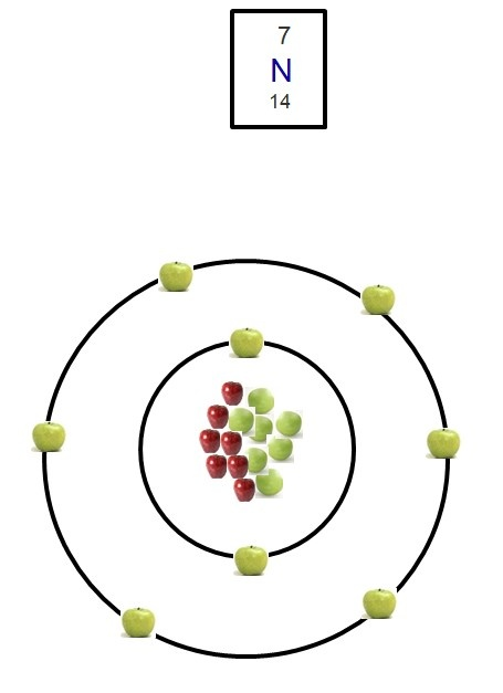 Daniel's Model: The electrons that are in the atom are green apples. The protons are green peas and the neutrons are the red apples. My chose was nitrogen and it had 14 as is relative atomic mass and 7 as its proton number. The advantages to my model are that you can clearly see the way it is layout.  The disadvantages to my model are that it's not really a photo.