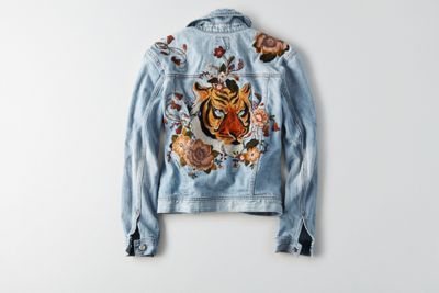 AEO Embroidered Tiger Denim Jacket  by  American Eagle Outfitters | Cool outsider: Style isn't in the wearing, it's in the doing. Layer it your way, and transition through the seasons like a pro. Shop the AEO Embroidered Tiger Denim Jacket  and check out more at AE.com.