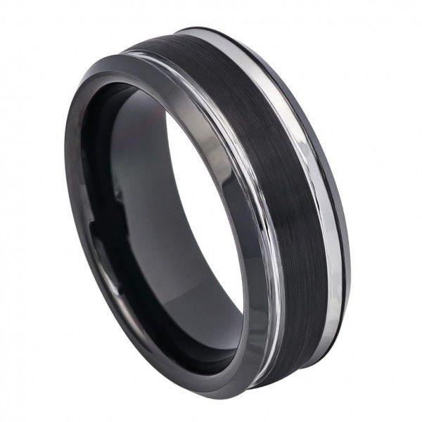 Men's 8mm Black Tungsten Carbide Wedding Band Ring Satin Finish and Polished Striped Design