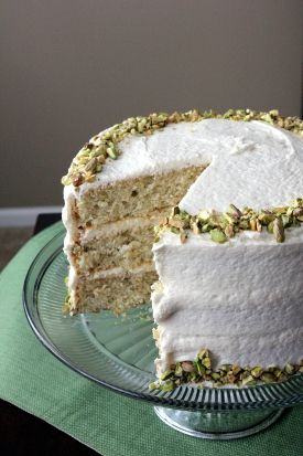 Pistachio Cake with Vanilla Honey Buttercream.: Pistachio Cake, Layered Cakes, Pistachios Cakes, Vanilla Honey, Honey Buttercream, Cakes Pistachios, Aunt Sassy, Sassy Cakes, Buttercream Frostings