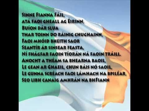 Amhrán na bhFiann in Irish Gaelic with the WORDS