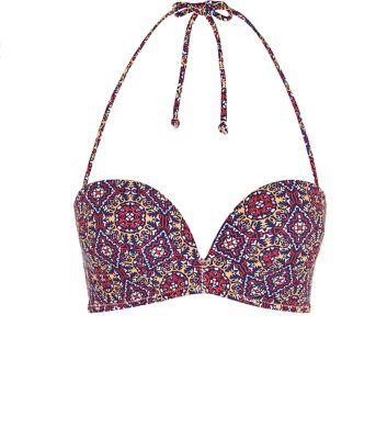 Multi Coloured Tile Print Extreme Push Up Bikini Top