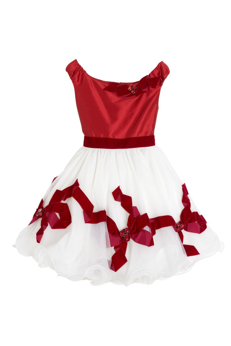 Luxury dress with handmade bows embroidery