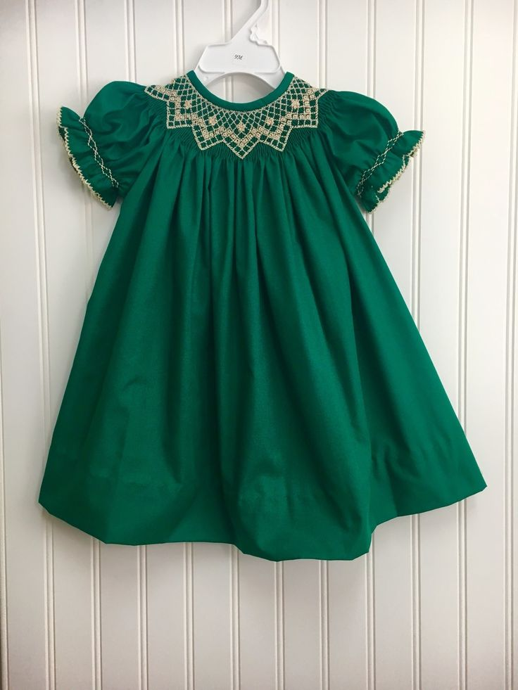Buy Girls Emerald Green Bishop Dress Ivory Smocking Beautiful smocked Christmas dress, $55.00 (https://www.hiccupschildrensboutique.com/girls-emerald-green-bishop-dress-ivory-smocking-krewe-baby-clothes/)