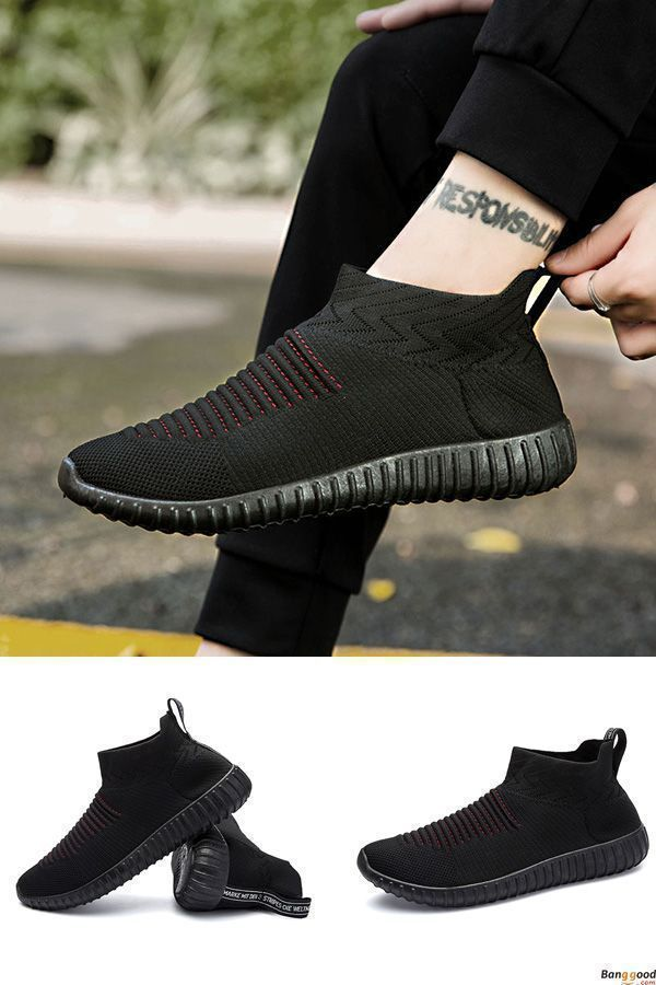 Free Shipping. Men Comfortable Knitted Fabric High Top Slip On Sneakers. Men's style, chic style, fashion style.  Shop at banggood with super affordable price. #sliponsneakers #hightopsneakers