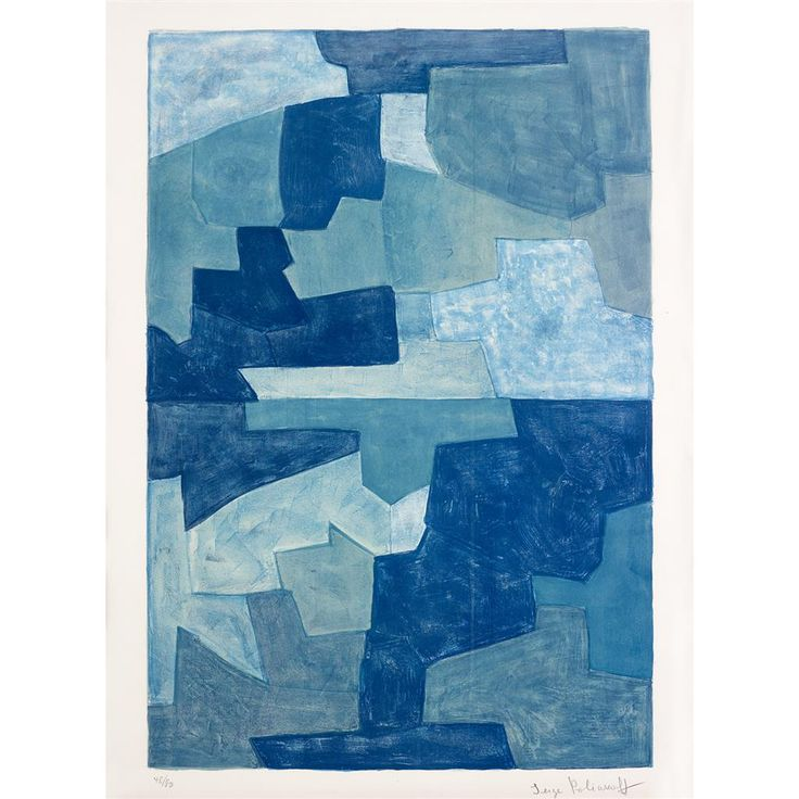 SERGE POLIAKOFF  (russian, 1906-1969)  UNTITLED  1969, pencil signed bottom right and numbered 48/80 (there were also 20 artist's proofs), with full margins, Erker-Presse, St. Gallen, publisher and with their blindstamp. Color lithograph on Rives BFK.  image: 38 x 25 1/4 in. (96.5 x 64.1cm)  sheet: 41 3/4 x 29 3/4 in. (106.1 x 75.6cm)  [Poliakoff & Schneider, 71]  provenance:  The Estate of Nell Day Surber, Cincinnati, Ohio.   Estimate $1,500-2,500  Sold for $8,125 (buyer's premium included)