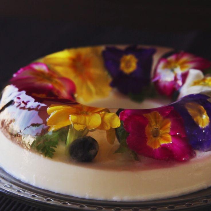 Hanazono Jelly - a beautiful Japanese flower garden gelatin dessert.