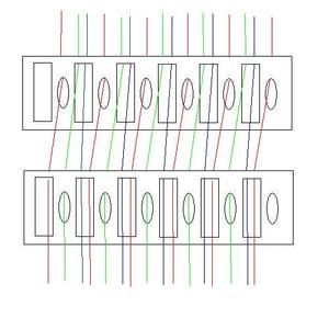 Threading diagram for weaving with two heddles on a rigid heddle loom