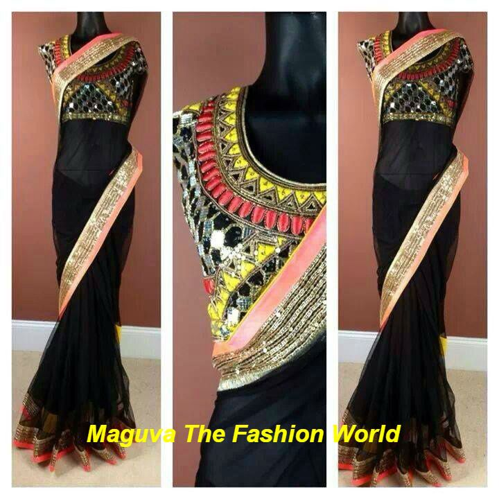 Mirror work blouse on plain black saree trendy sarees by for Mirror work saree