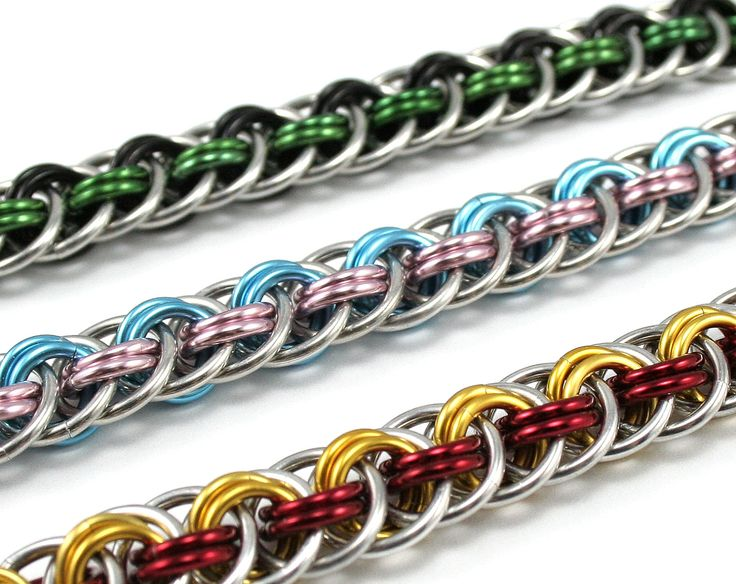 Custom Braided Chainmail Bracelet – Double Color Metal Chainmaille Bracelet for …  – ZİNCİR