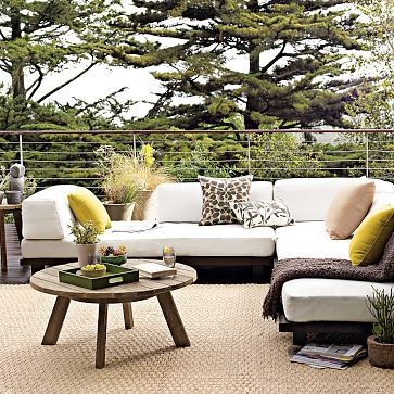 LOVE this outdoor couch. Perfect combo of modern style and comfort.