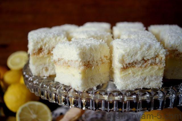 Пляцок Кокосово-лимонний, неймовірно ніжний : Ням ням за 5 хвилин