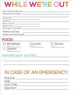 babysitting information sheet printable | Printable babysitter notes from www.thirtyhandmadedays.com