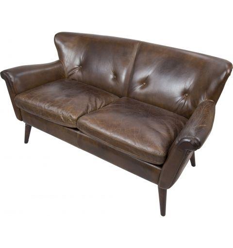 Petra 2 Seater Leather Sofa, Vintage Cigar