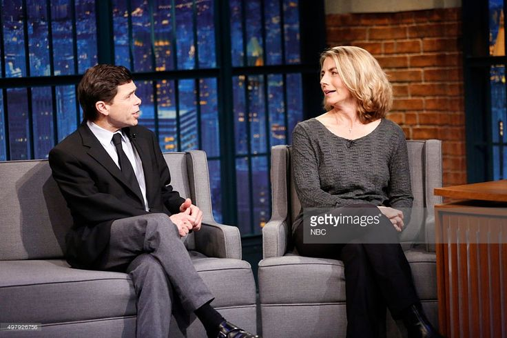 """Boston Globe Reporters Michael Rezendes, Sacha Pfeiffer during an Interview on NBC's """"Late Night with Seth Meyers"""" on (November 19, 2015)"""