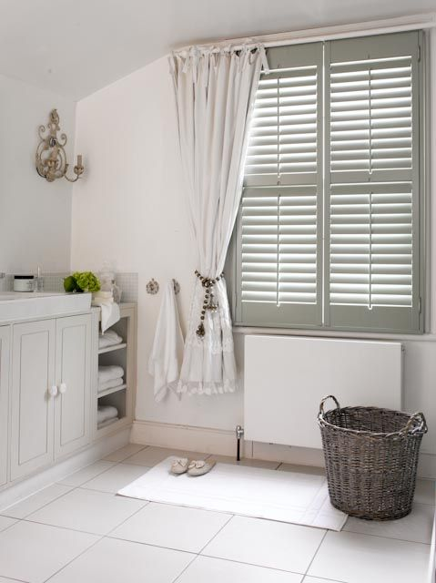 17 best images about beautiful bathroom shutter ideas on - Plantation shutters for bathroom ...