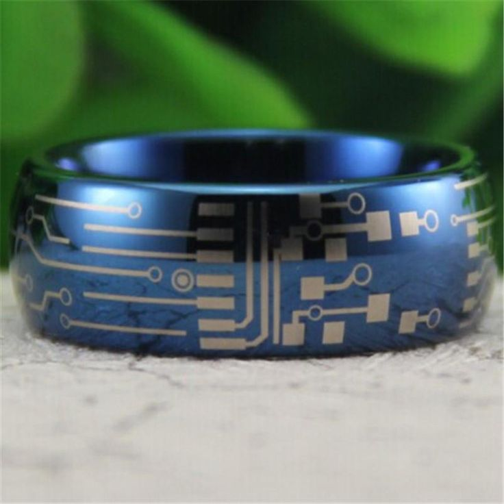 Circuit Board Design Men's Promise Rings