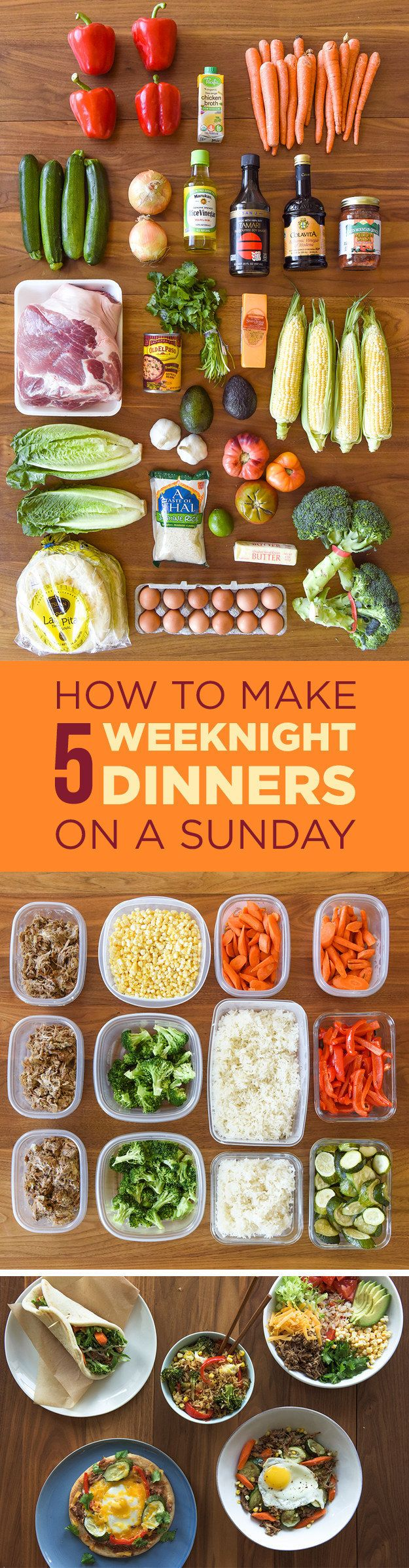 Spend just a little bit of time prepping ingredients on Sunday and make easy dinners all week.