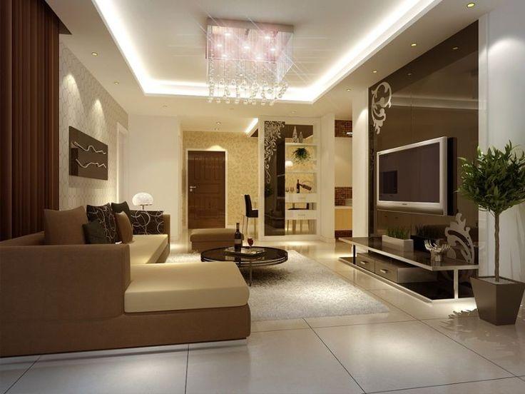 Moderna sala de estar con la lámpara