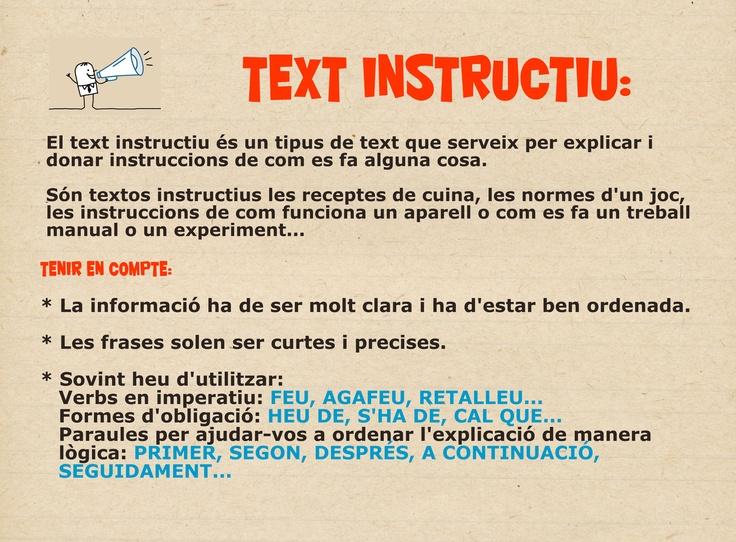 Característiques text instructiu